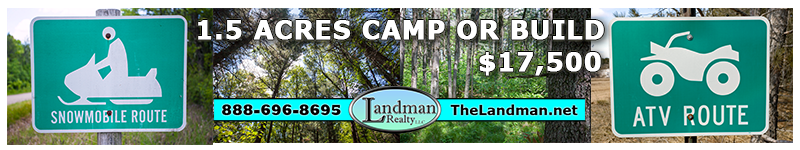 Camp or Build on ATV & Snowmobile Route 1.5 Acres Lot for Sale